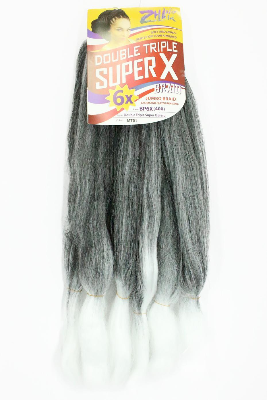 Cabelo Sintético - Zhang hair jumbo - Super X (400g) - Cor: Preto / Branco (MT51)