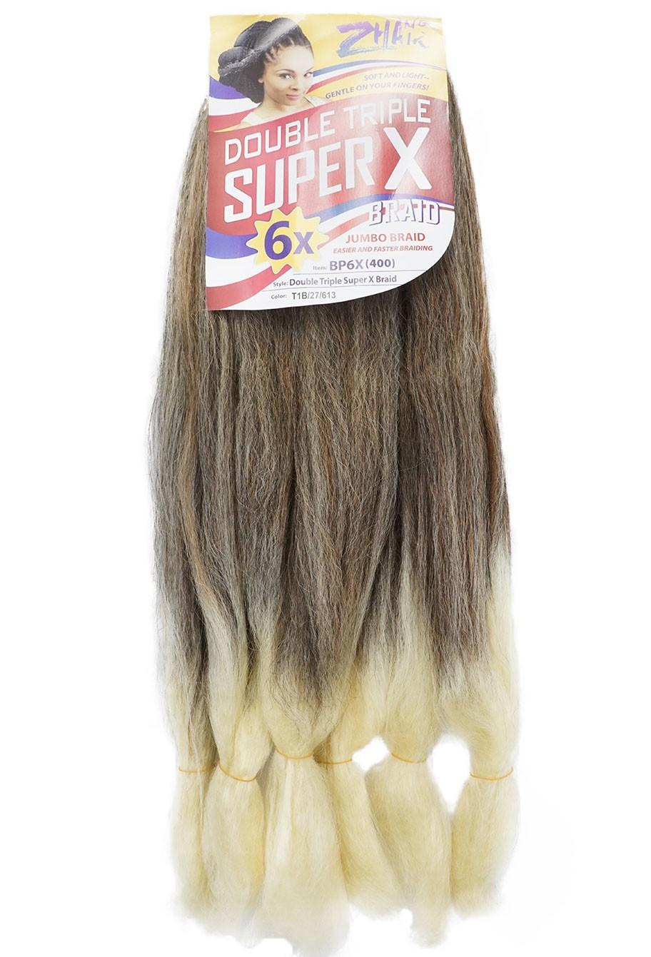 Cabelo Sintético - Zhang hair jumbo - Super X (400g) - Cor: Preto com mel e Loiro (T1B/27/613)