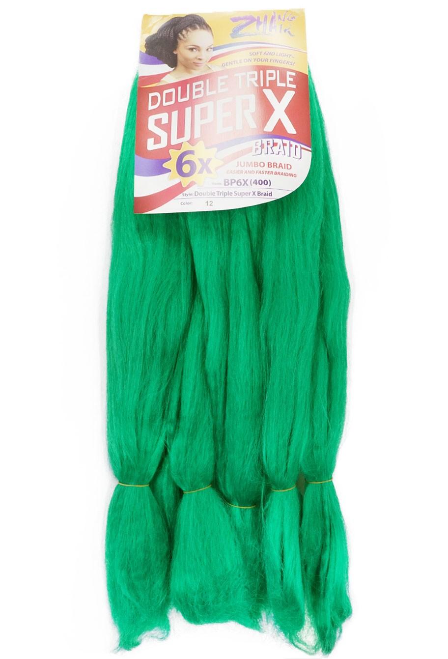 Cabelo Sintético - Zhang hair jumbo - Super X (400g) - Cor: Verde (12)