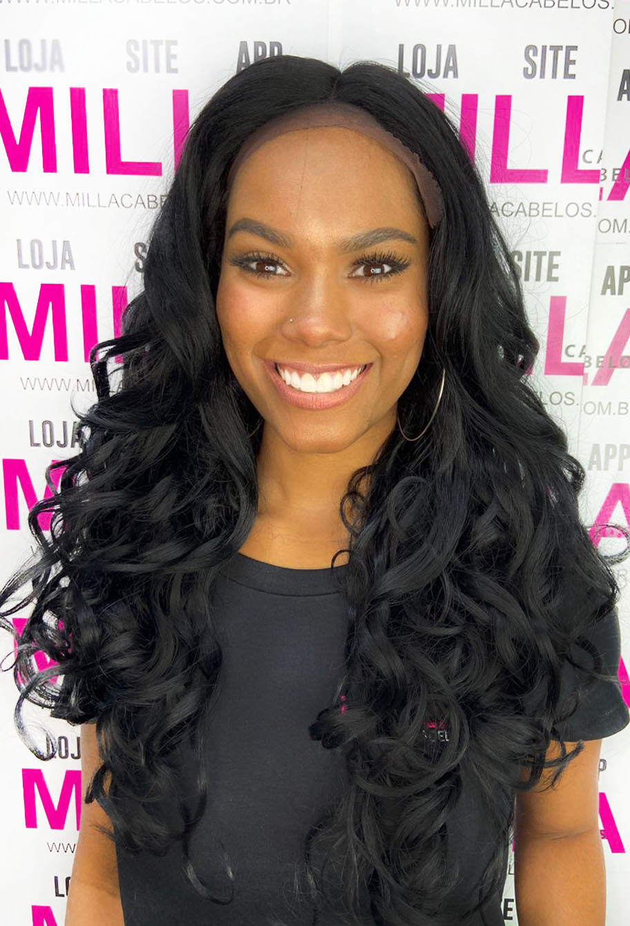 Peruca Orgânica - Front/Top Lace Sleek Wig Fashion - Star