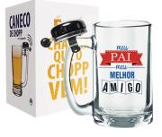 CANECO DE CHOPP COM CAMPAINHA 340ML + CX - PAI MELHOR AMIGO