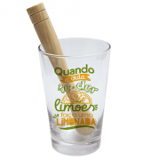 COPO DRINK KIT CAIPIRINHA 350ML + SOQUETE + CX -  FACA LIMONADA