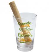 COPO DRINK KIT CAIPIRINHA 350ML + SOQUETE + CX -  FACA LIMONADA