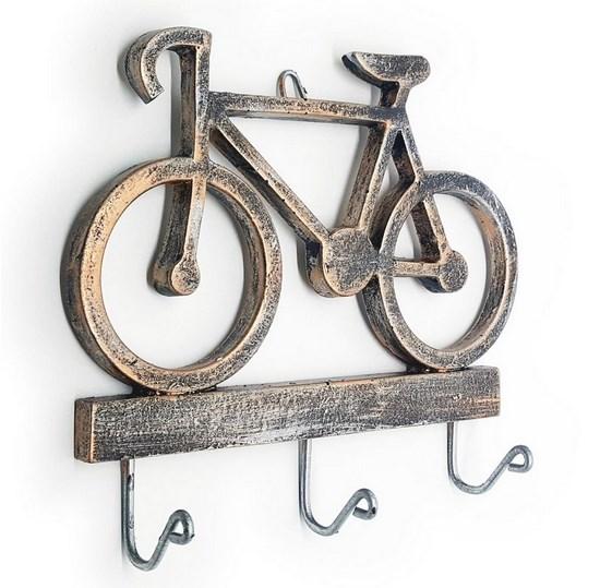 Cabideiro Porta Chaves Rustico Bicicleta - Resina cor cobre