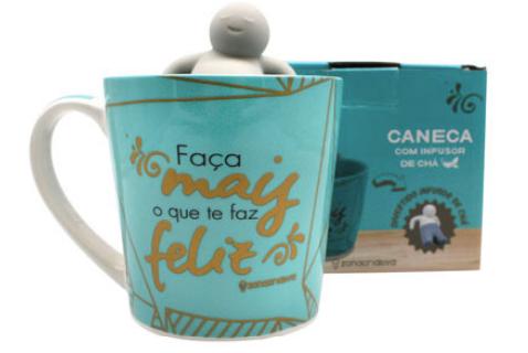 CANECA C/ INFUSOR DE CHA O QUE TE FAZ FELIZ 350 ML