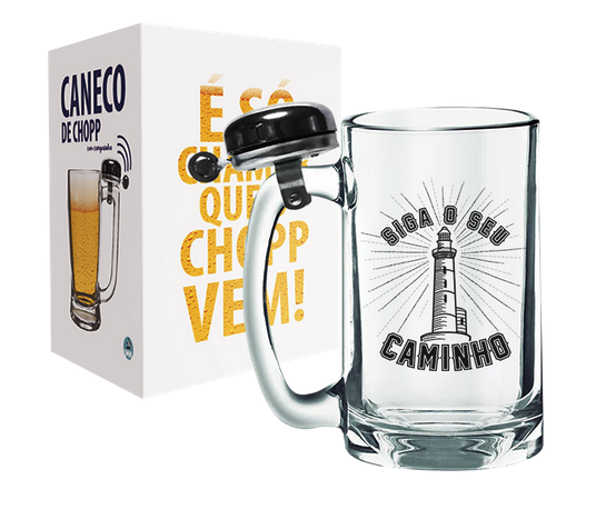 CANECO DE CHOPP COM CAMPAINHA 340ML + CX - BARBER SHOP