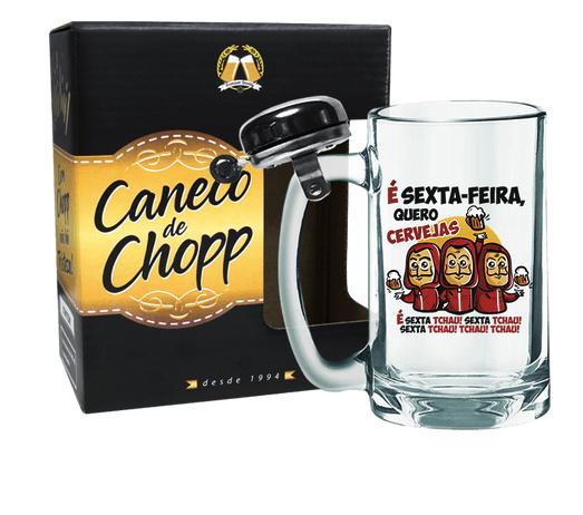CANECO DE CHOPP COM CAMPAINHA 340ML + CX - LA CASA DE PAPEL