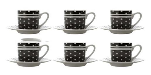 JOGO DE XICARA P/ CAFE BLAK DOTS 90 ML 6 PCS
