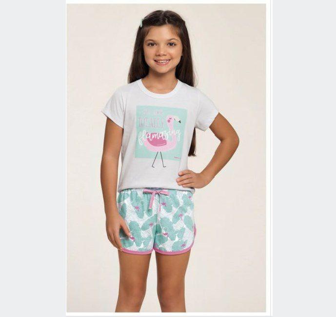 Short Doll Infantil 100% Algodão Flamingo Verão 2020 MIAMI DREAMS