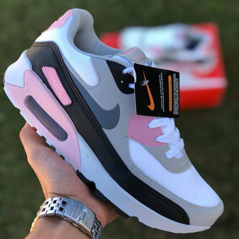 Nike air max 90 branco preto rosa