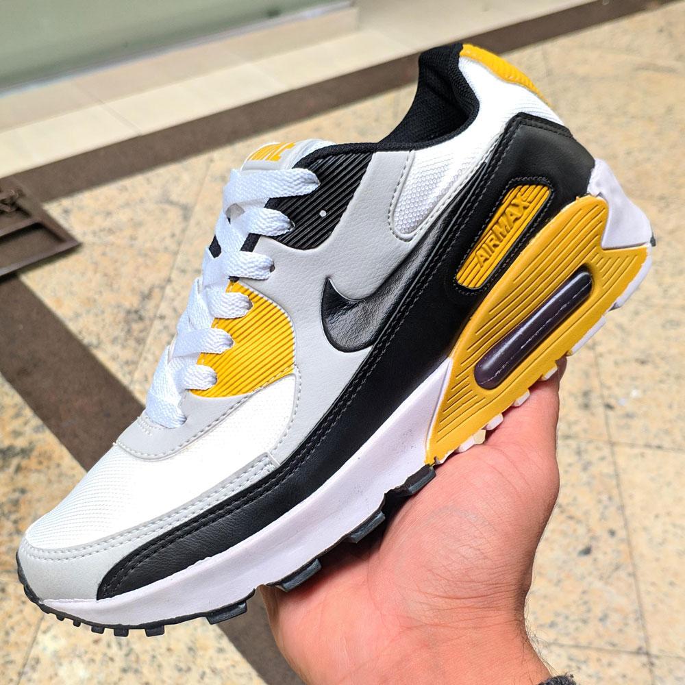 Tenis nike air max 90 branco amarelo