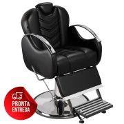 Cadeira de Barbeiro Alfa com Encosto e Apoio de Pé Reclináveis - Pé Cromado