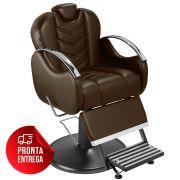 Cadeira de Barbeiro Alfa com Encosto e Apoio de Pé Reclináveis - Pé Preto