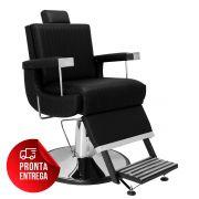 Cadeira de Barbeiro Flórida com Encosto e Apoio de Pé Reclináveis - Pé Cromado