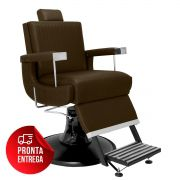 Cadeira de Barbeiro Flórida com Encosto e Apoio de Pé Reclináveis - Pé Preto