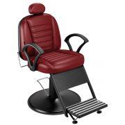 Cadeira de Barbeiro Madri Reclinável com Pé Taça Preto