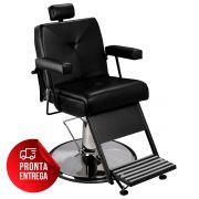 Cadeira de Barbeiro Reclinável Milão - Pé Cromado