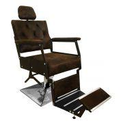 Cadeira de Barbeiro Reclinável Zeus Pé Quadrado