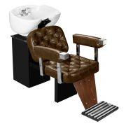 Lavatório Dubai Barber com Descanso de Pernas - Cuba de Porcelana - Estrutura Preta