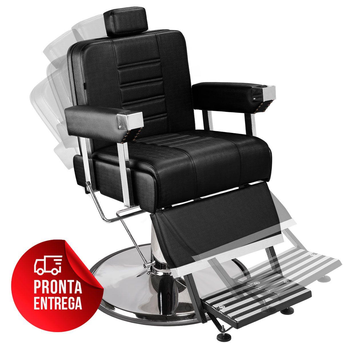Cadeira de Barbeiro Detroit com Encosto e Apoio de Pé Reclináveis - Pé Cromado