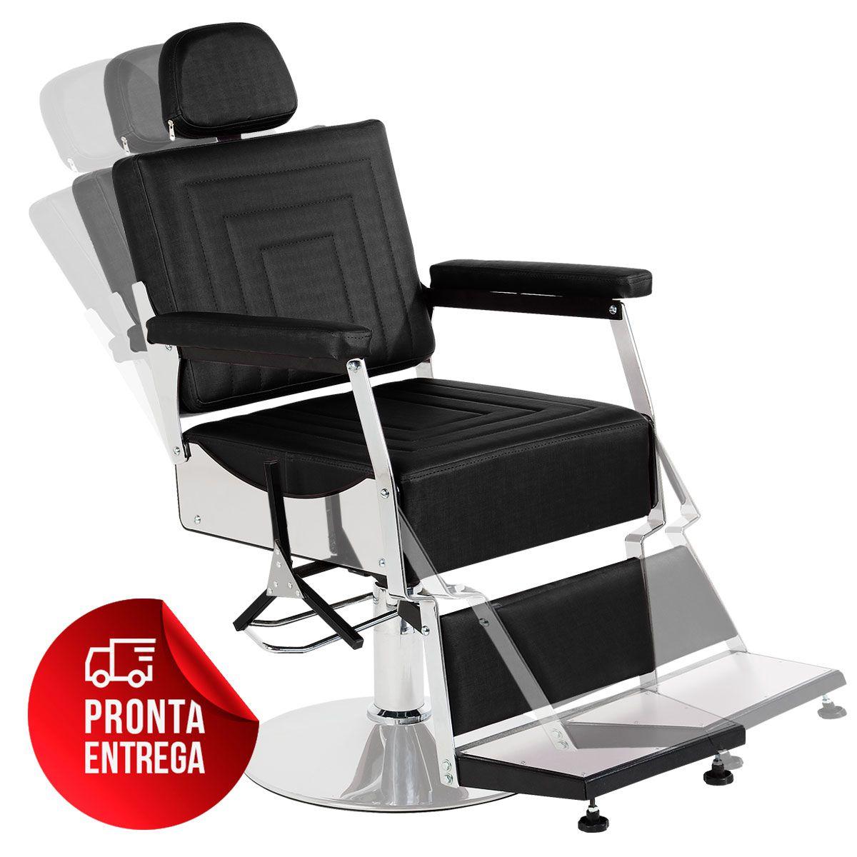 Cadeira de Barbeiro Reclinável Apolo Pé Redondo