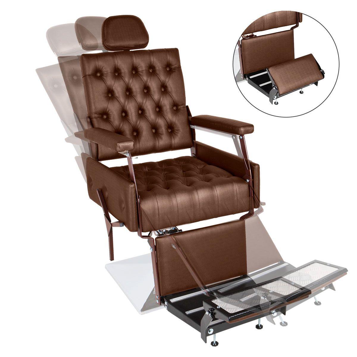 Cadeira de Barbeiro Reclinável Euro - Pé Quadrado