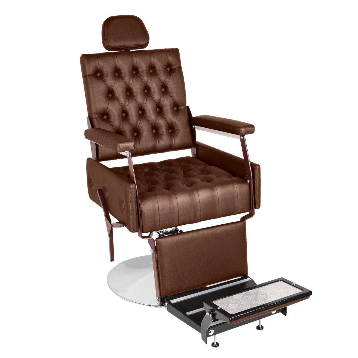 Cadeira de Barbeiro Reclinável Euro - Pé Redondo