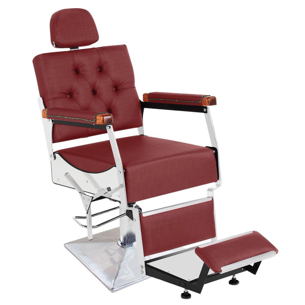 Cadeira de Barbeiro Reclinável Tebas Pé Quadrado