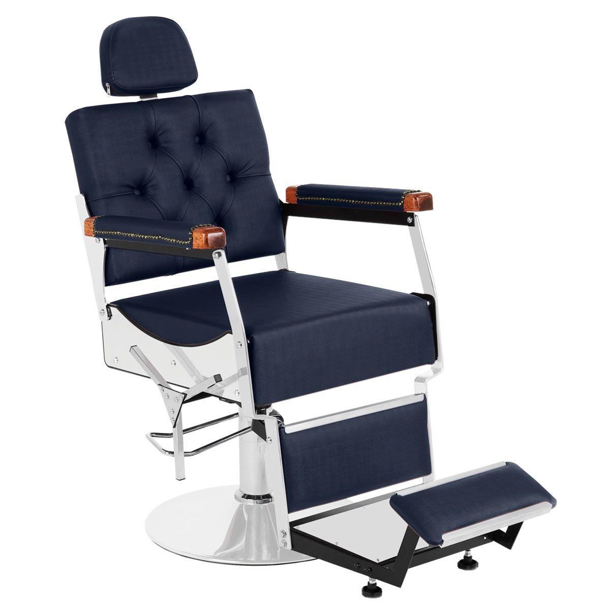 Cadeira de Barbeiro Reclinável Tebas Pé Redondo