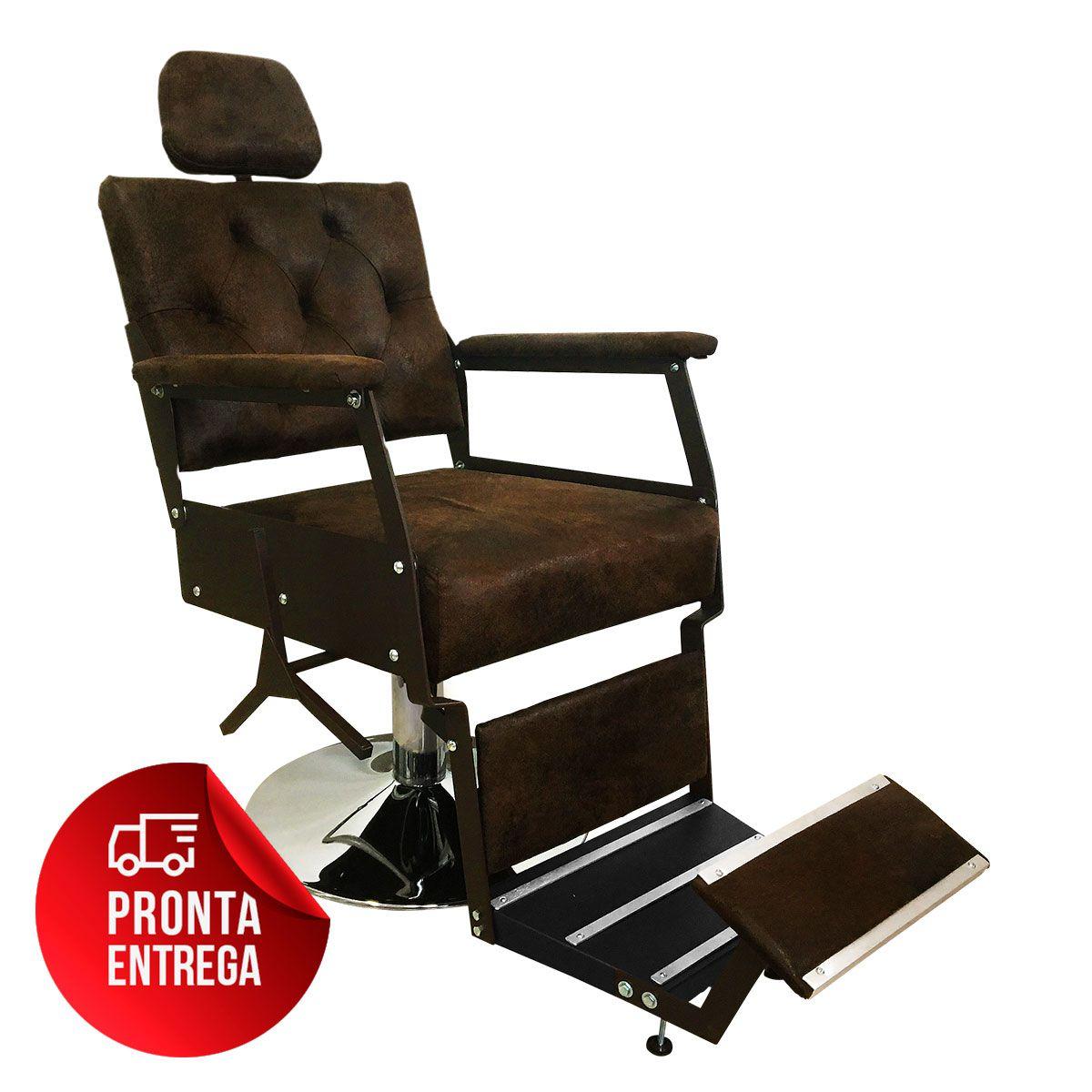 Cadeira de Barbeiro Reclinável Zeus Pé Redondo