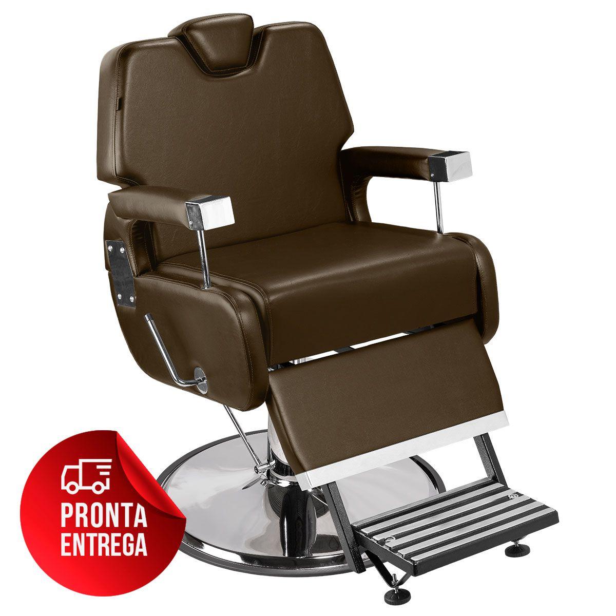 Cadeira de Barbeiro Sevilha com Encosto e Apoio de Pé Reclináveis - Pé Cromado