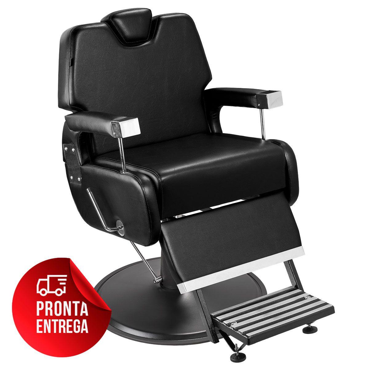 Cadeira de Barbeiro Sevilha com Encosto e Apoio de Pé Reclináveis - Pé Preto