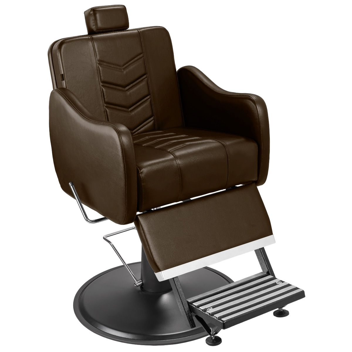 Cadeira de Barbeiro Veneza com Encosto e Apoio de Pé Reclináveis e Pé Cálice Preto