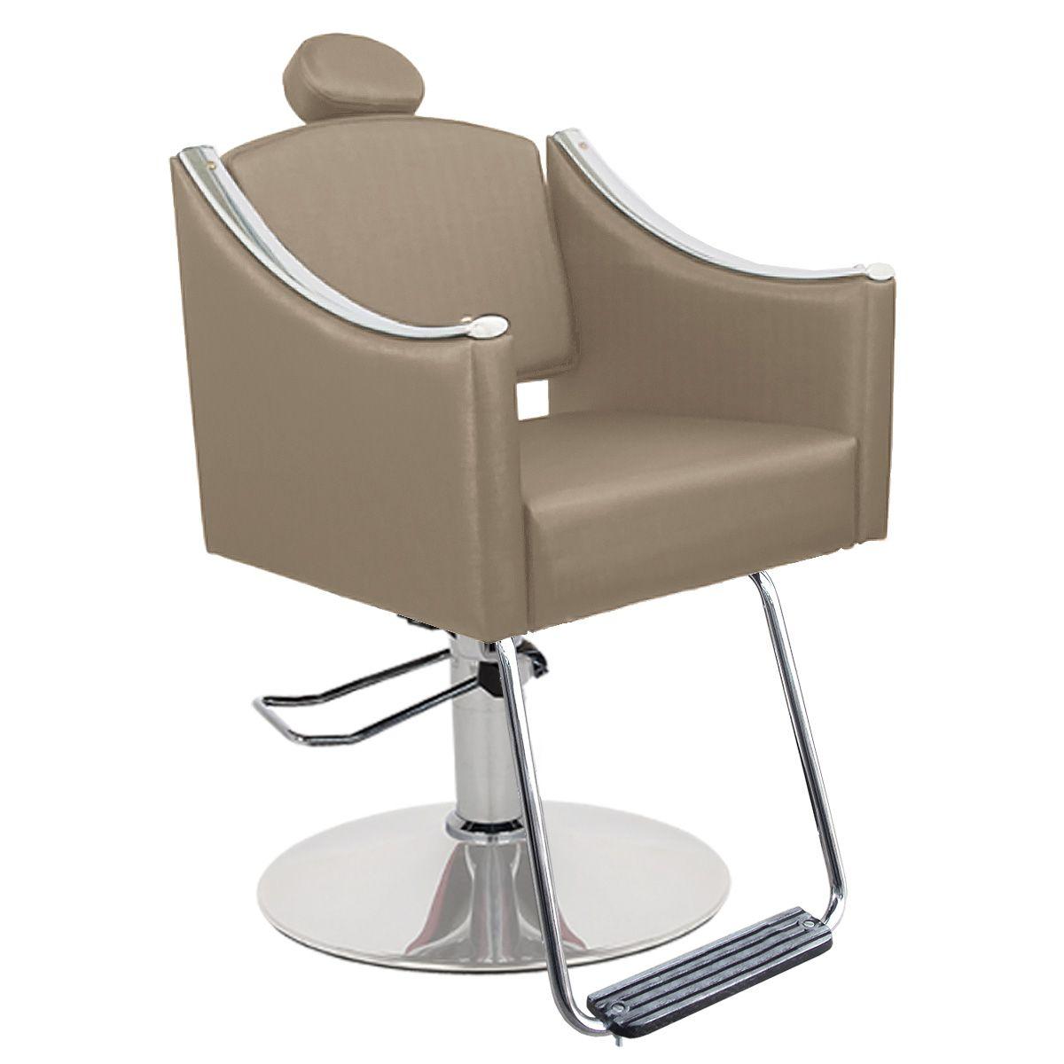 Cadeira de Cabeleireiro Cristal Encosto Fixo - Pé Redondo