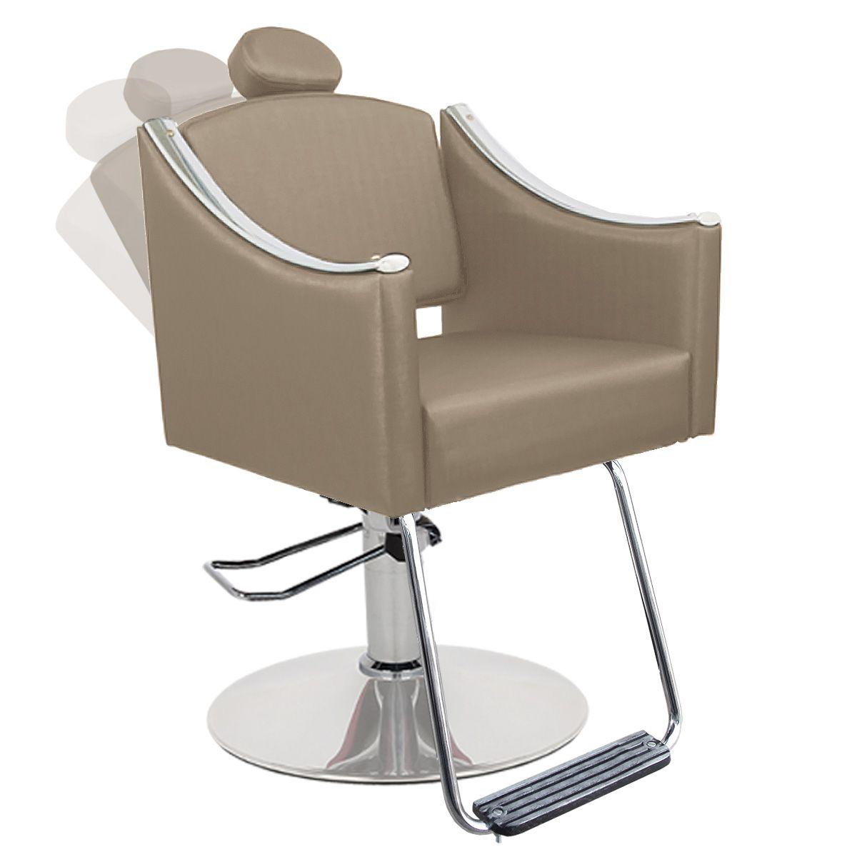 Cadeira de Cabeleireiro Cristal Encosto Reclinável - Pé Redondo