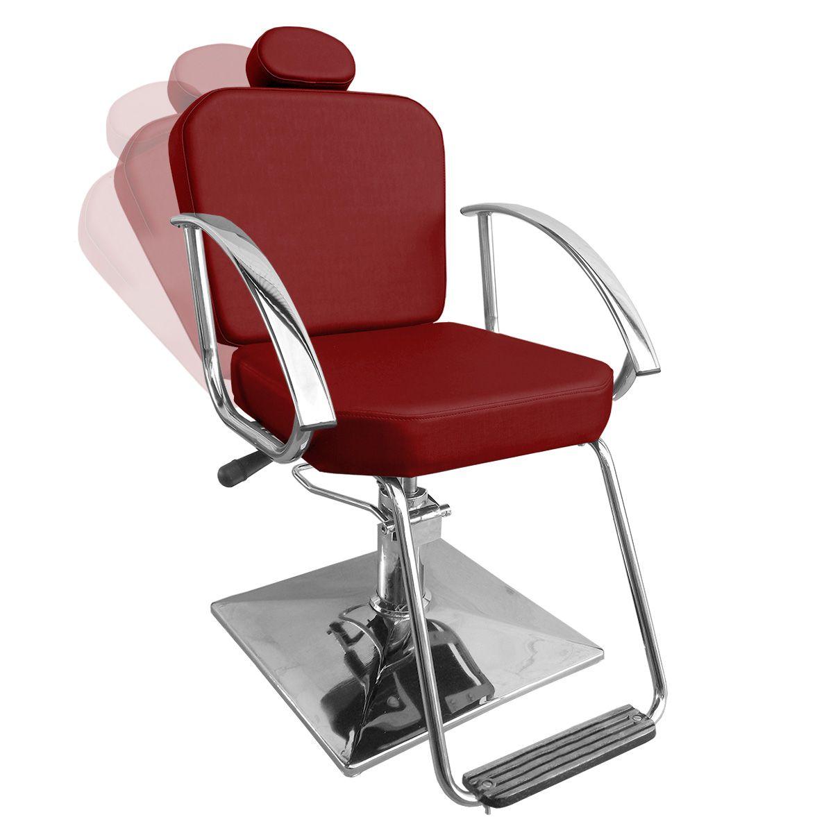 Cadeira de Cabeleireiro Dallas Encosto Reclinável - Pé Quadrado
