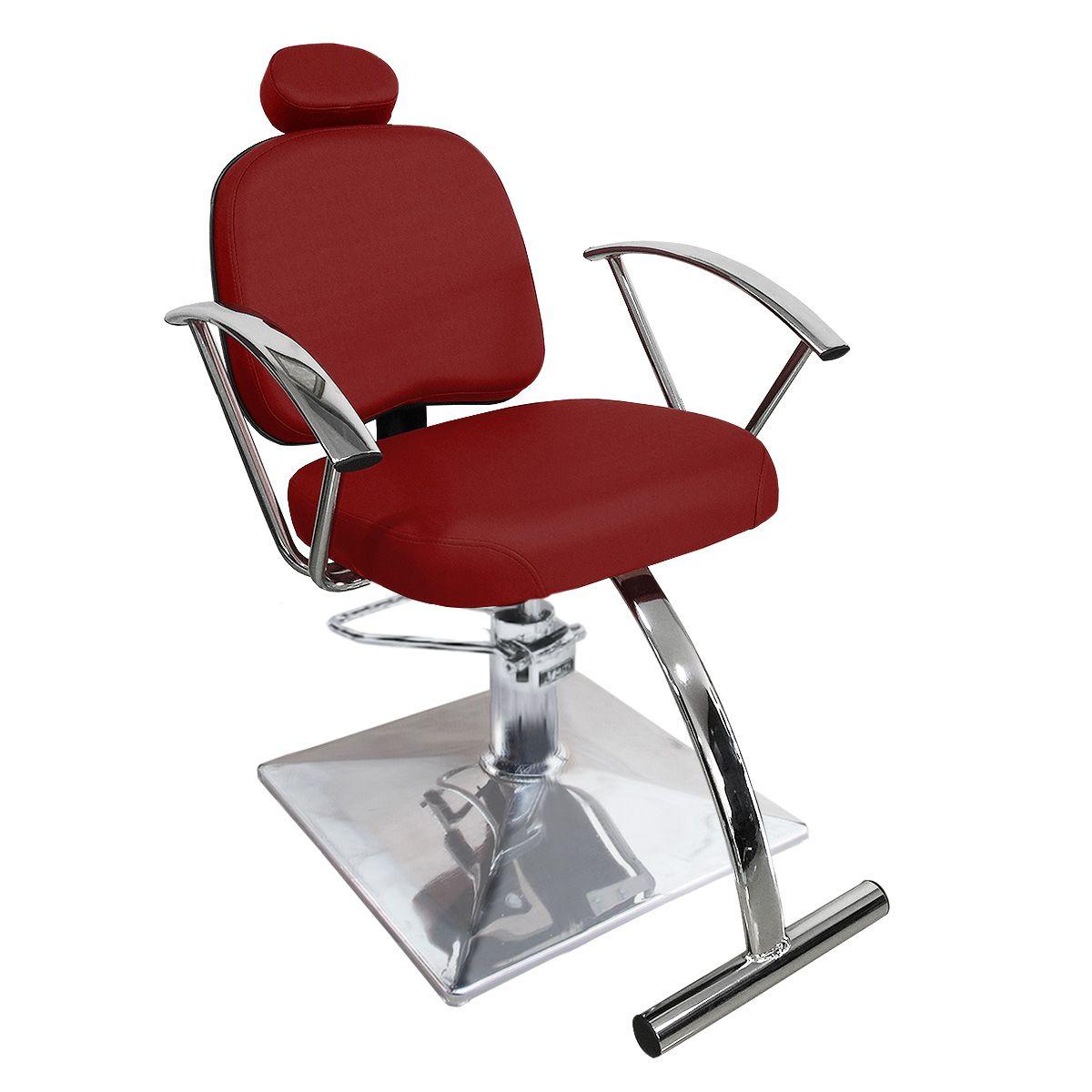 Cadeira de Cabeleireiro Íris Encosto Reclinável - Pé Quadrado