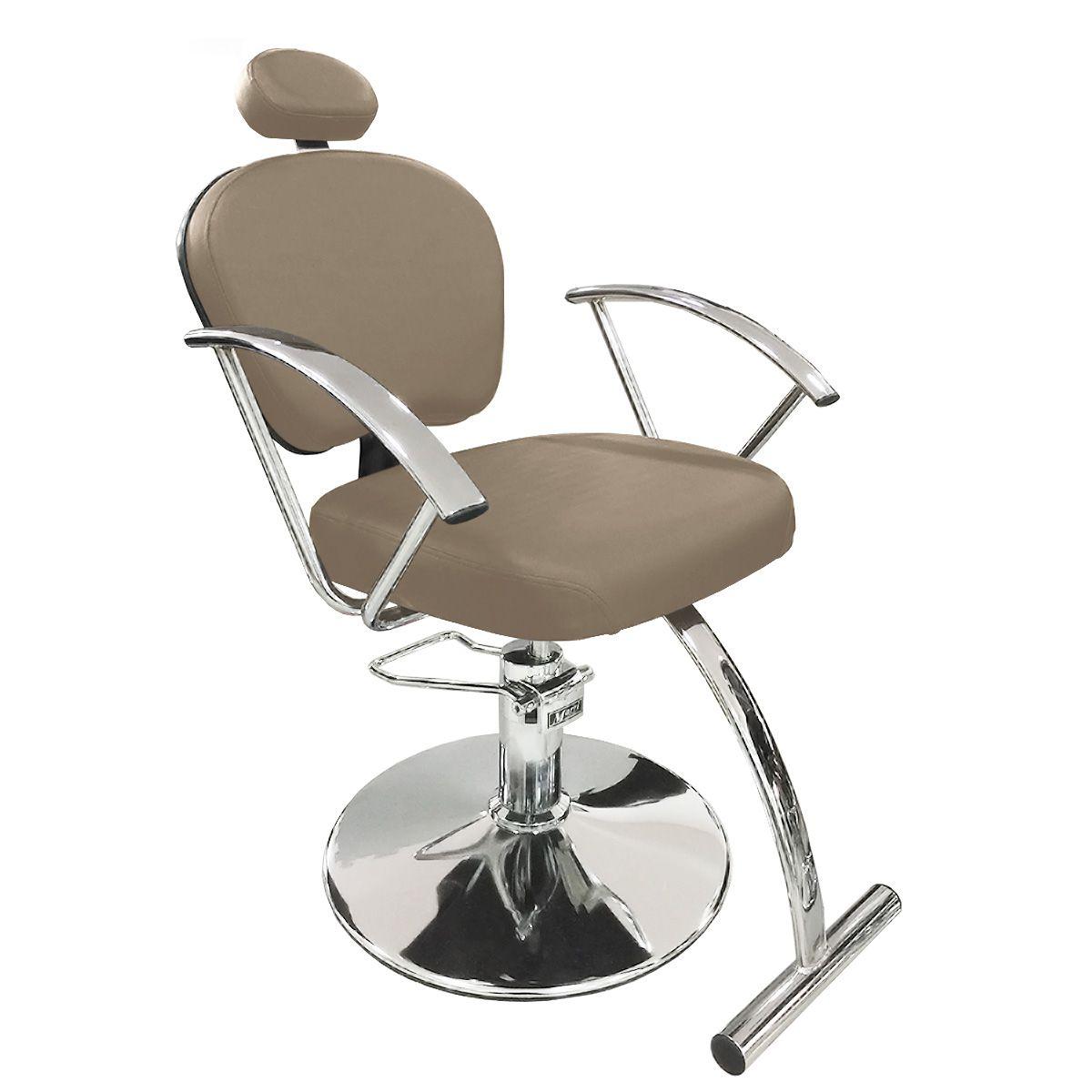 Cadeira de Cabeleireiro Jasmim Encosto Reclinável - Pé Redondo