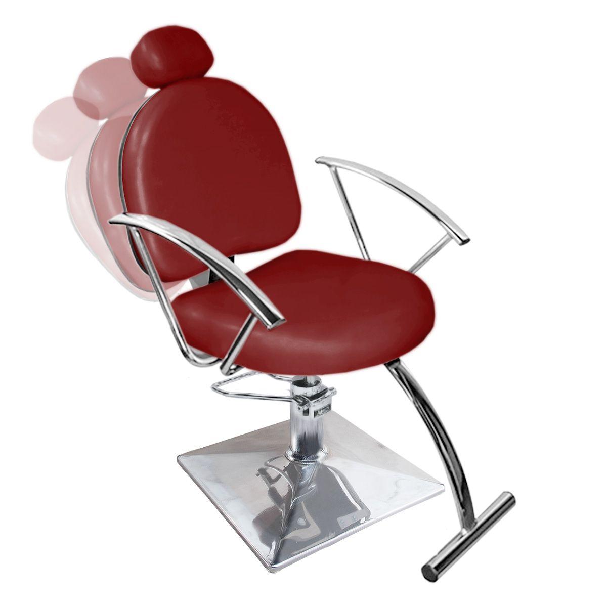 Cadeira de Cabeleireiro Roma Encosto Reclinável - Pé Quadrado