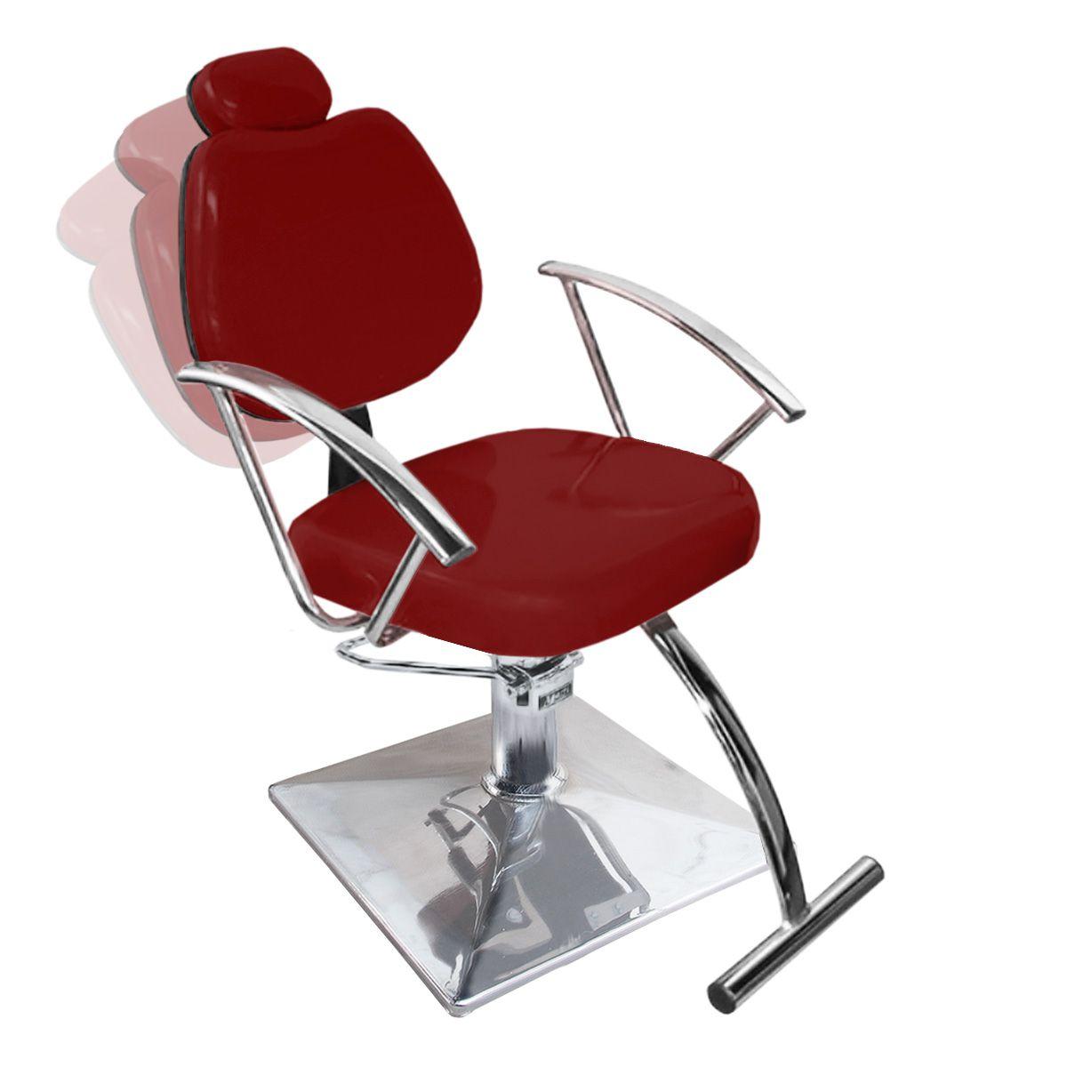 Cadeira de Cabeleireiro Tulipa Encosto Reclinável - Pé Quadrado