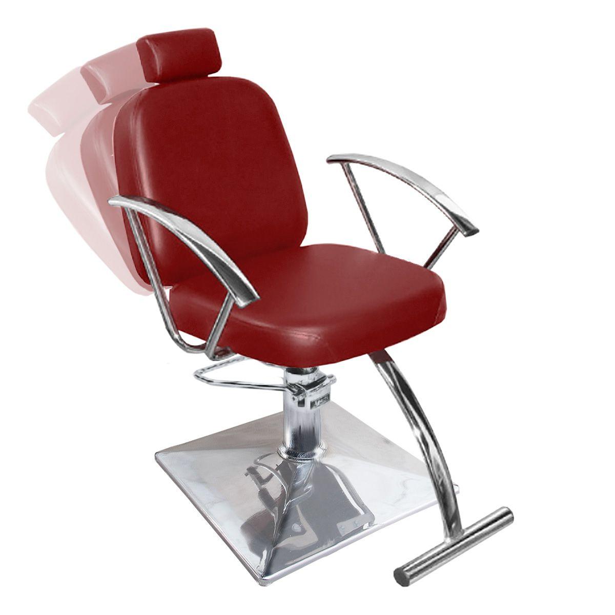 Cadeira de Cabeleireiro Turim Encosto Reclinável - Pé Quadrado