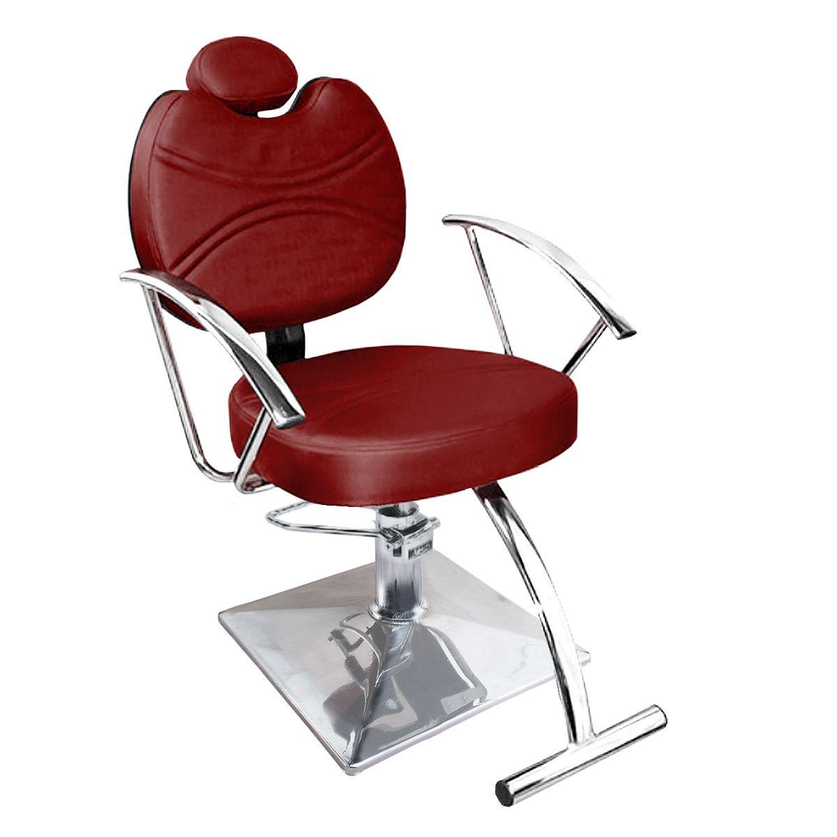 Cadeira de Cabeleireiro Vitória Encosto Reclinável - Pé Quadrado