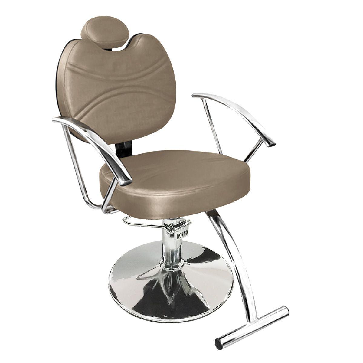 Cadeira de Cabeleireiro Vitória Encosto Reclinável - Pé Redondo