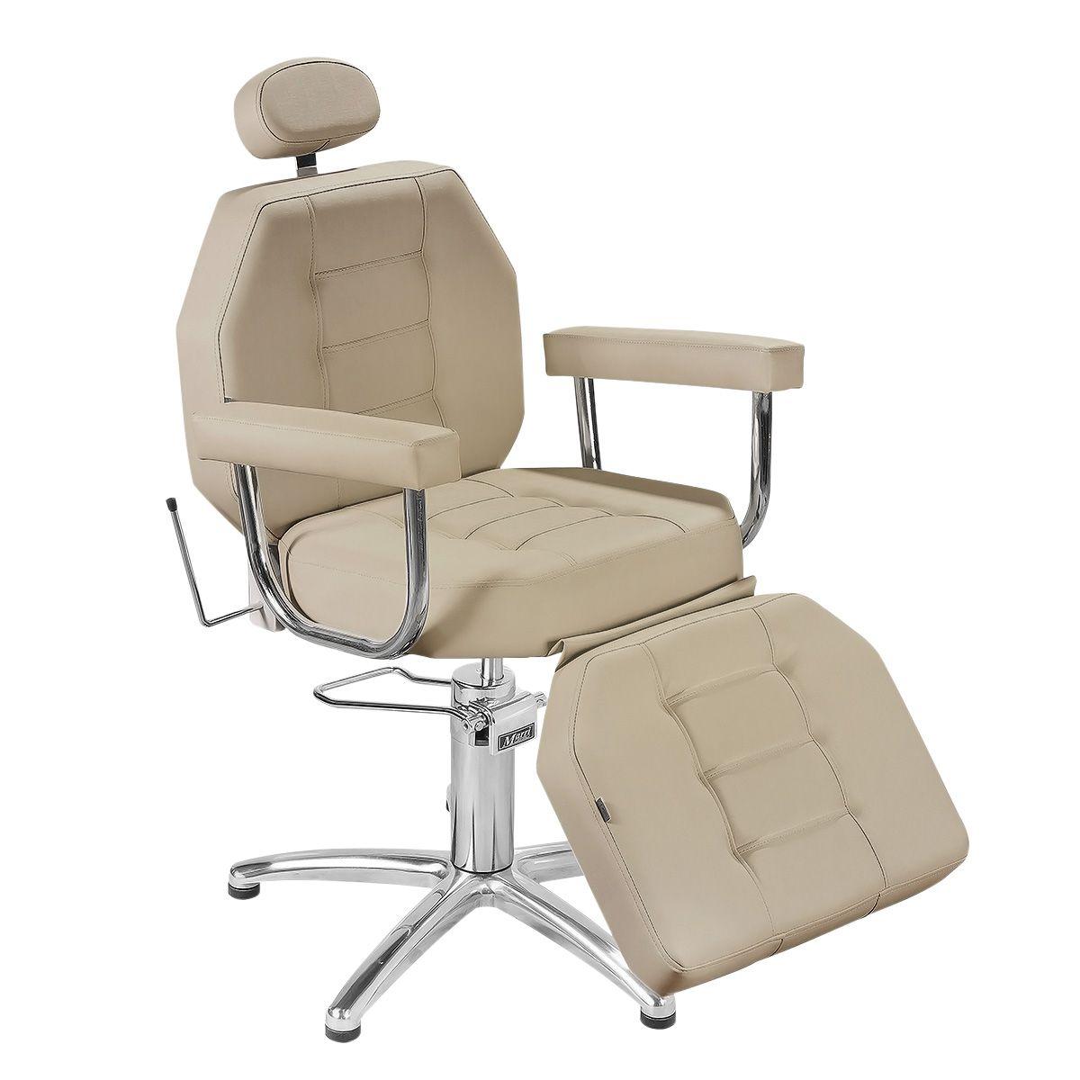Cadeira Maquiagem Reclinável Linea Luxo - Braço Estofado - Pé Pentapé
