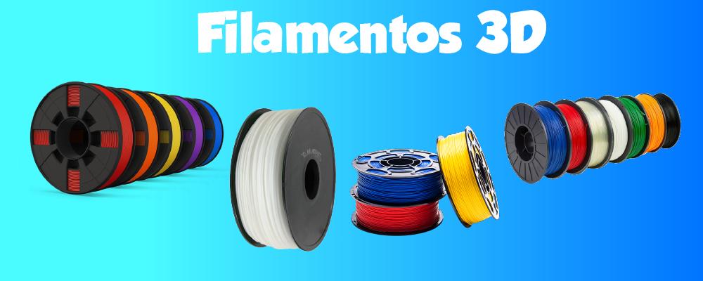 filamentos de vários tamanhos, modelos e cores