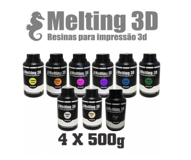 4 Resinas Melting 3D - Standard - LCD/SLA/DLP - 380/420nm - 2 Litros de Resina