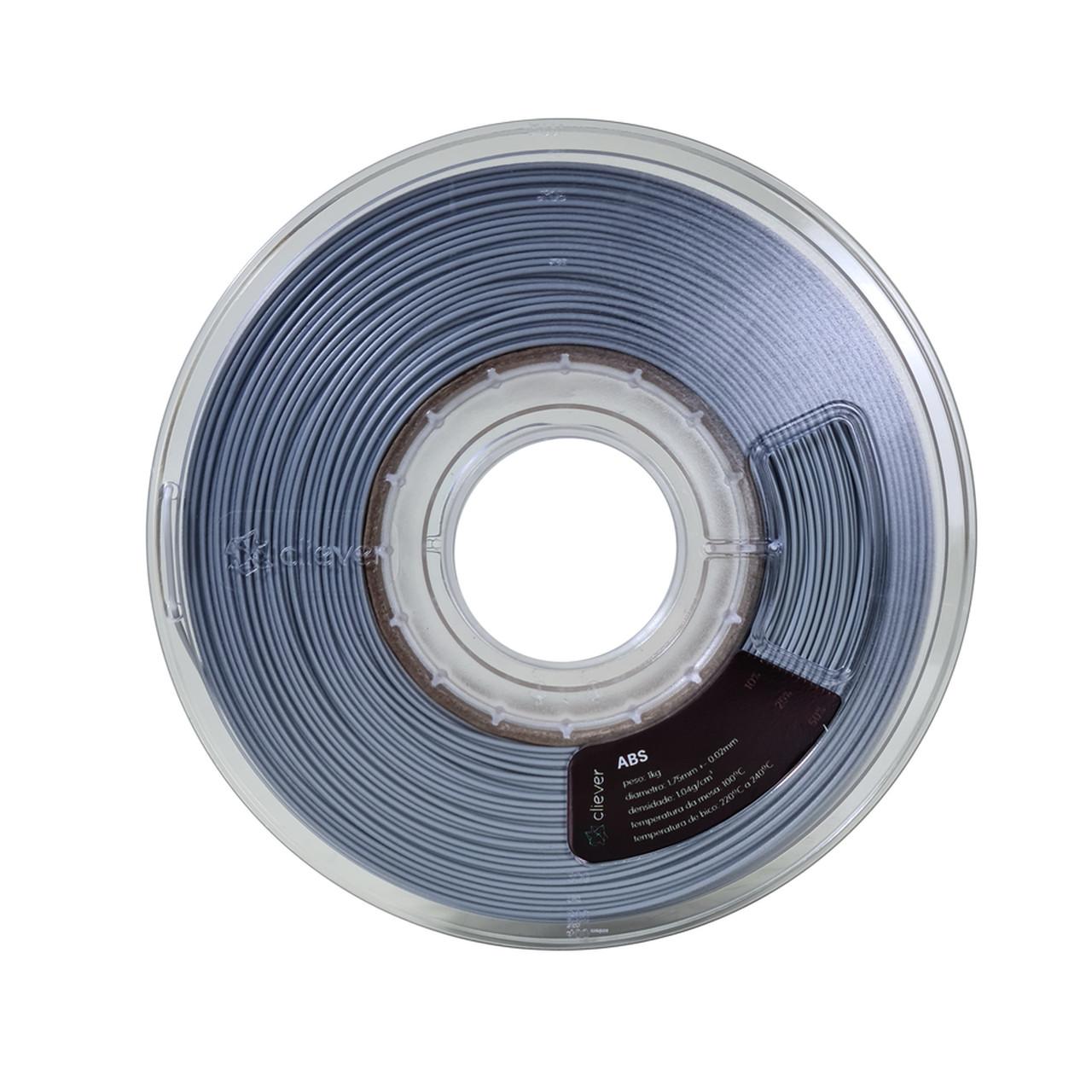 Filamento ABS - Alumínio - Cliever - 1.75mm - 1kg
