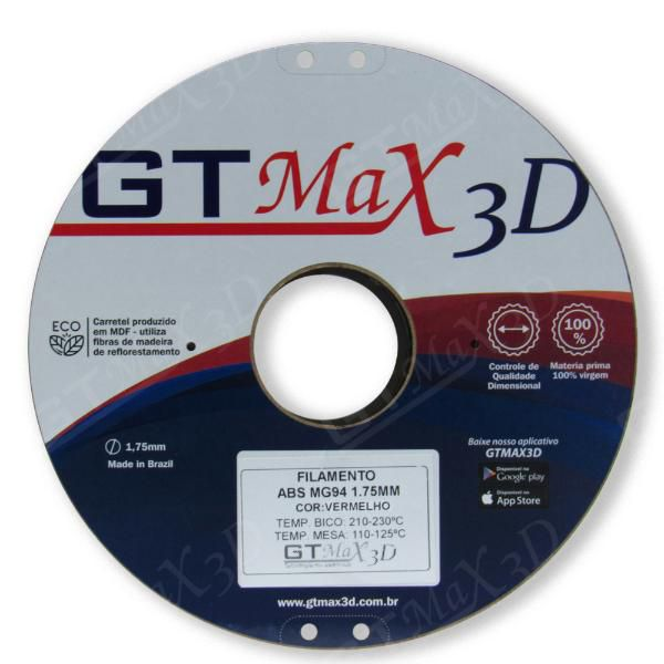 Filamento ABS- Azul Claro - Premium MG94 - GTMax 3D - 1.75mm - 1KG
