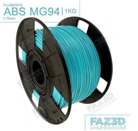 Filamento ABS - Azul Turquesa - Premium MG94 - FAZ3D - 1.75mm - 1kg