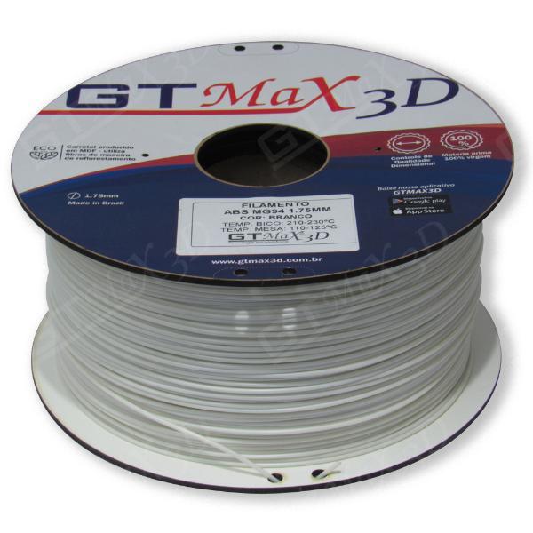 Filamento ABS- Branco - Premium MG94 - GTMax 3D - 1.75mm - 1KG
